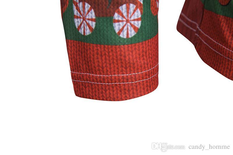 Christmas Clothing Men's T shirts Christmas Santa Claus Printed Mens Tee Tops Hip Hop Funny T-shirts Casual Long Sleeve Mens T shirts