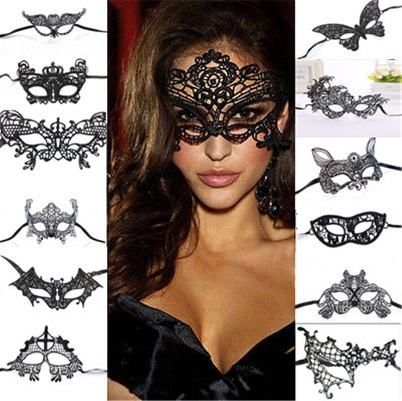 Sexy Women Black Lace Eye Face Mask Masquerade Party Ball Prom ...