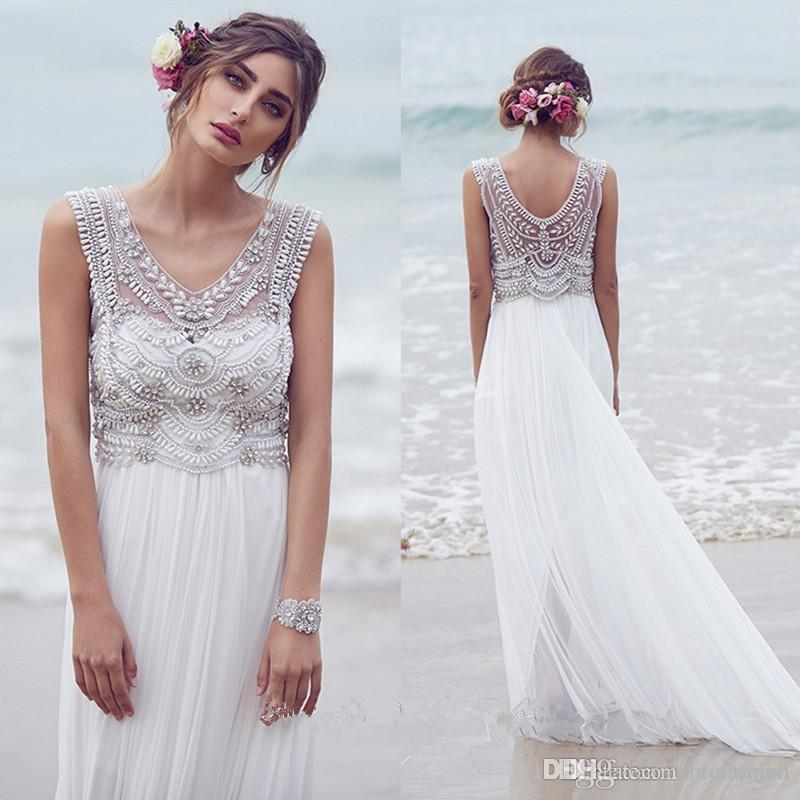 Perles De Cristal Tulle Une Ligne De Plage Robes De Mariée 2019 Illusion Corsage Sexy Bohême Robes De Mariée Robes De Novia Sexy Robe De Mariée