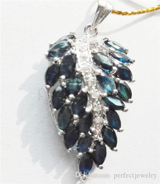 Sapphire jewelry necklace pendant real natural blue sapphire 925 leaf shape pendant jewelry sapphire necklace pendant silver pendant gemstone pendant online with 16394piece on perfectjewelrys store dhgate aloadofball Images