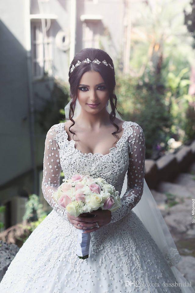 Suknie Balowe Arabskie Suknie Ślubne Aplikacja Zroszony Koronki Długie Rękawy Suknie Ślubne Arabskie Suknie Ślubne Białe Suknie Ślubne