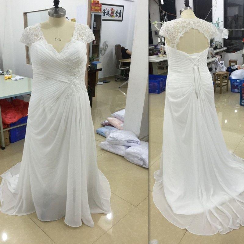 Cheap Plus Size Wedding Dress 2017 Beaded Strapless Bodice: Discount Plus Size Wedding Dresses Cheap 2017 V Neck