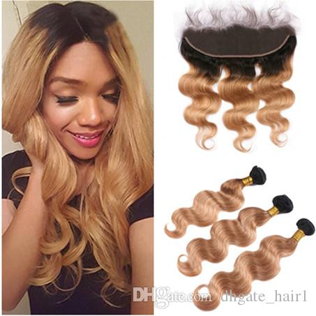 Cheap peruvian light brown ombre human hair with frontal wavy 1b cheap peruvian light brown ombre human hair with frontal wavy 1b27 dark roots honey blonde two tone ombre 13x4 lace frontal with bundles 100 human hair urmus Gallery