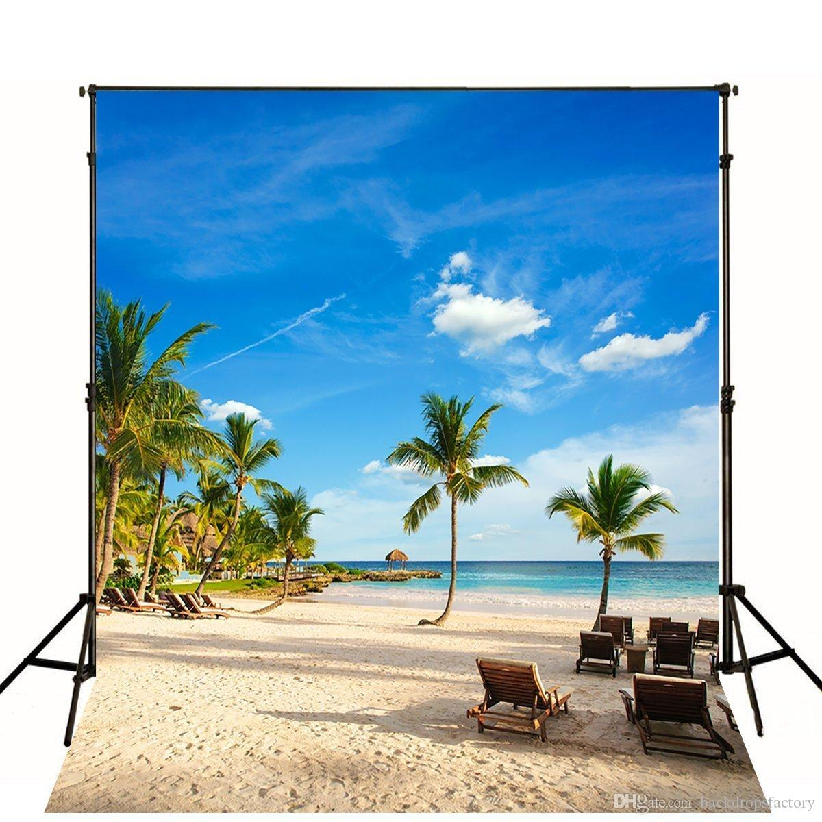 Sand Beach In Summer Sky Background: 2019 5x7ft Tropical Rainforest Photography Backdrop Blue