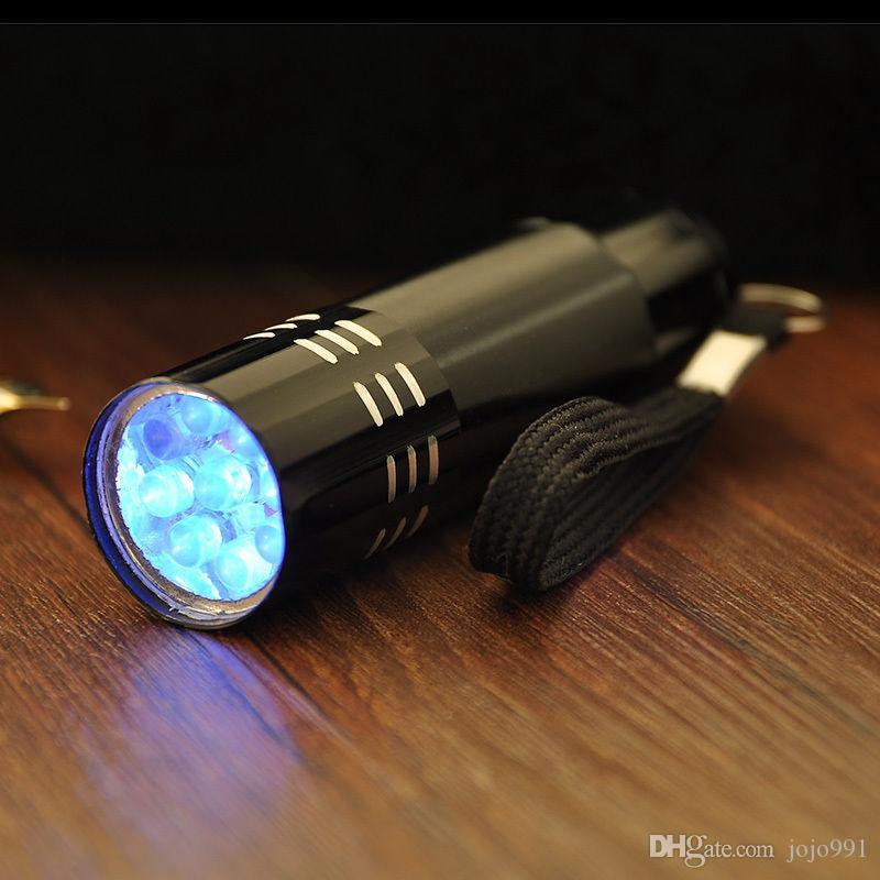 Barato Colorido Mini Alumínio UV ULTRA VIOLETA 9 LED FLASHLIGHT BLACKLIGHT Luz Da Tocha Lâmpada Chaveiros DHL FRETE GRÁTIS
