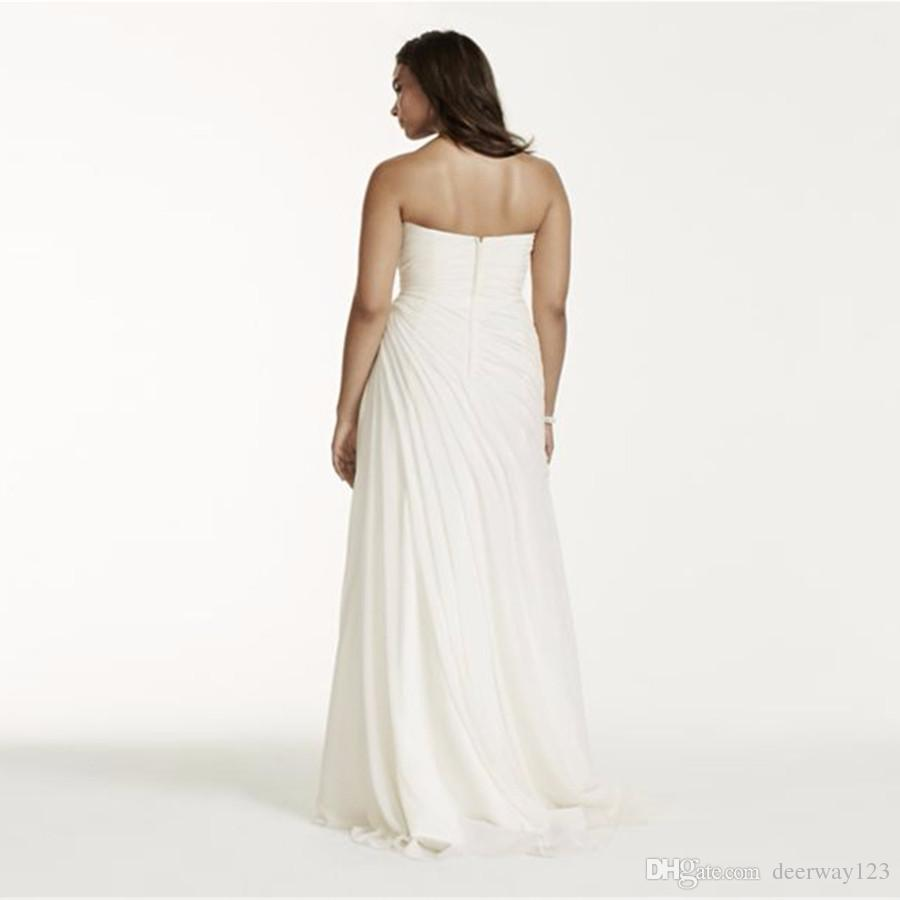 Vestido drapeado de la arruga de la gasa más el tamaño de boda sin tirantes acanalada blusa elegante simple Vestidos de novia rebordear Sash 9V3540