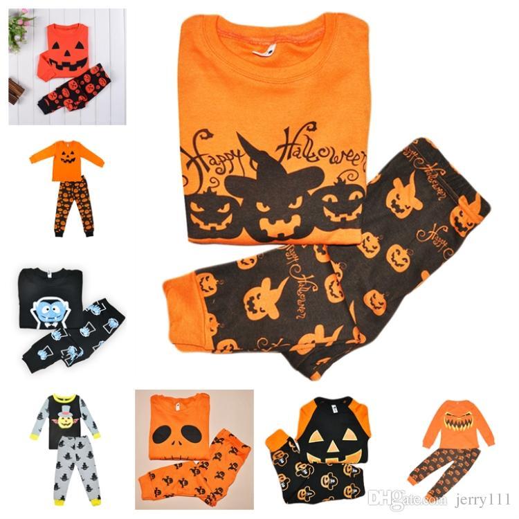 48d54c970 Wholesale 2y~7y Kids Long Sleeve Pajamas Sets 8 Designs Pumpkin ...
