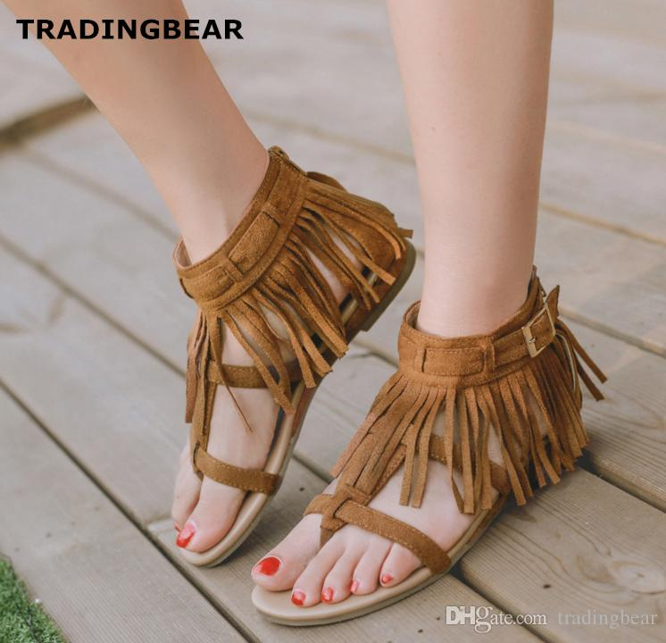 f84cc36df653 New Flat Heel Thong Sandals Black Brown Fringe Tassels Shoes Bohemian  Fashion Women Casual Style Size 35 To 40 Bridal Shoes Cheap Shoes From  Tradingbear