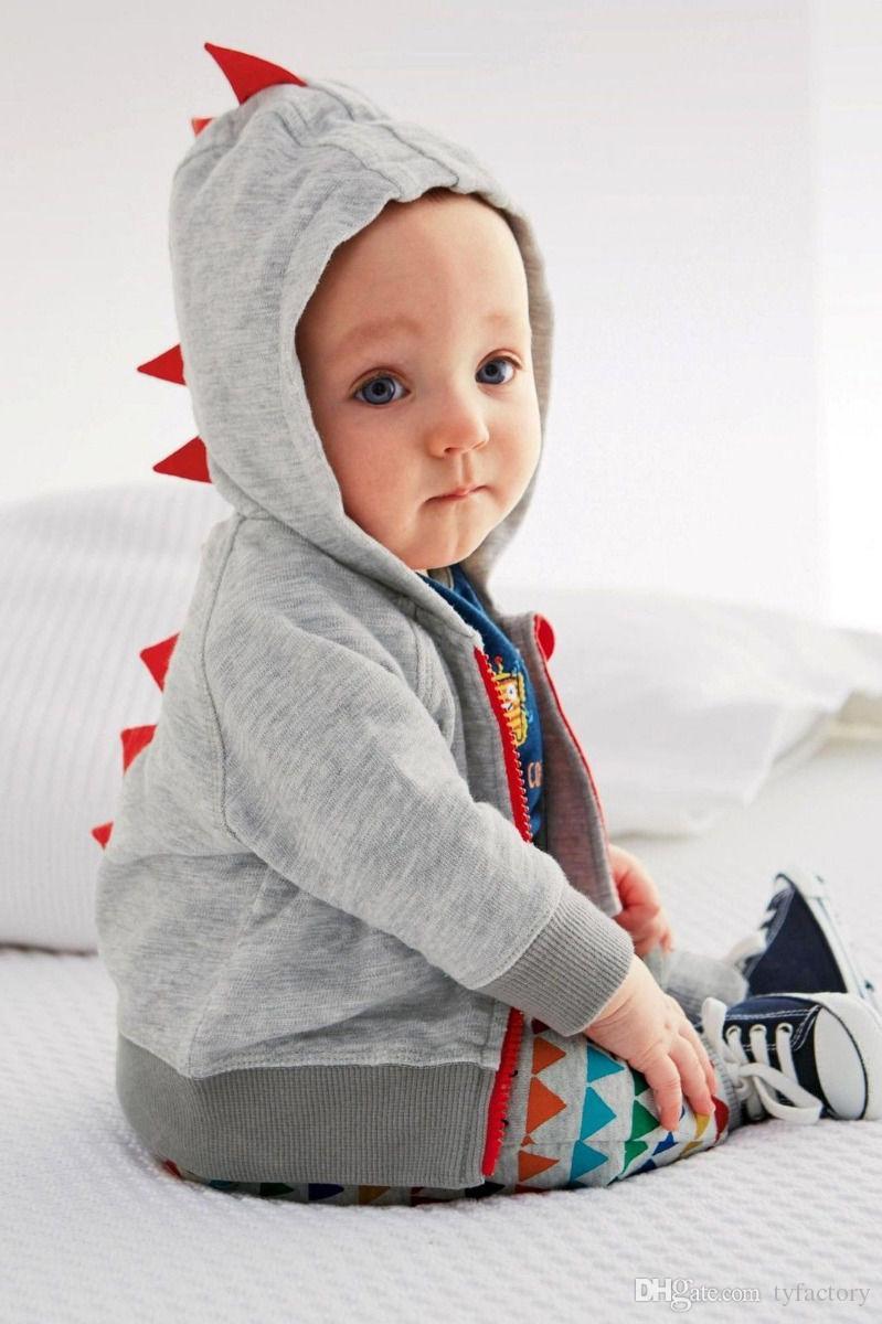 2017 Yeni Yürüyor Bebek Boys Dinozor Uzun Kollu Kapşonlu Tops Ceket Kaban Kazak Çocuk Giyim 0-3 T