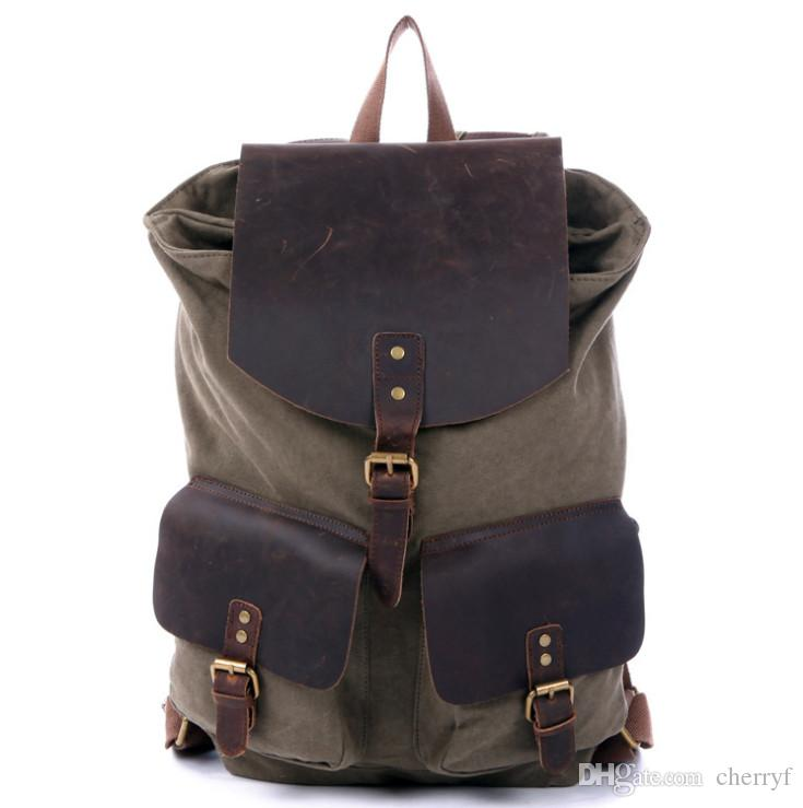 7fb8c6c0a4dc Canvas School Bags Vintage Backpacks Crazy Horse Leather Travelling ...