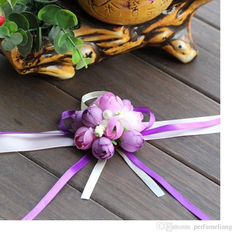 Artificial Rose novia muñeca flores Dama de honor hermanas flores de la mano para el banquete de boda decoración nupcial Prom WA1934