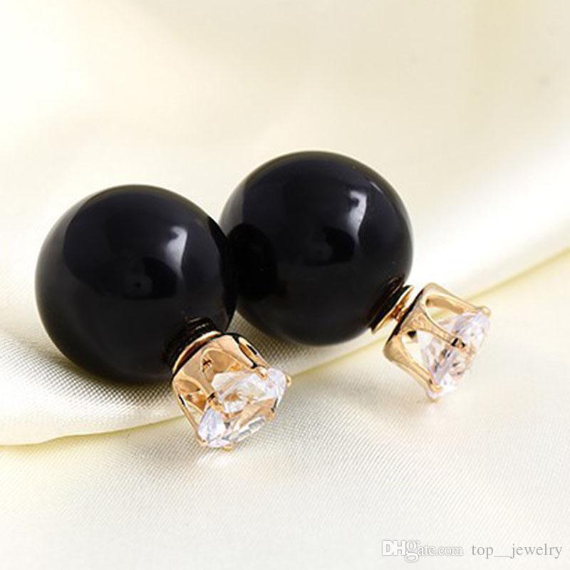 Hot Selling 16MM Double Balls Side Pearl Stud Earrings Crystal Zircon Crown Stud Earrings Fashion DR Jewelry for Women