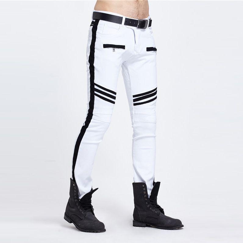Mode Hommes Pantalons En Gros Couture À La Mode Marée Marque Blanc Et Noir À Panneaux Droite Legged Homme Jeans Vente Chaude 2017
