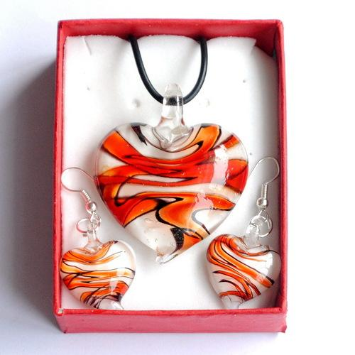 With boxes Heart murano lampwork glass pendant necklaces chandelier earrings jewelry set For women DIY fashion jewelery sets