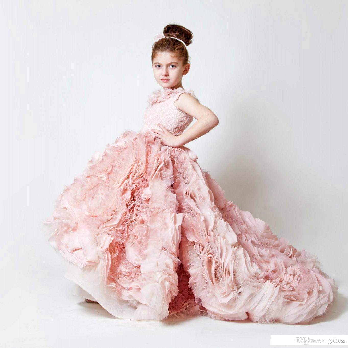 Compre 2017 Exquisita Rosa Gasa Volantes Cumpleaños De La Boda ...