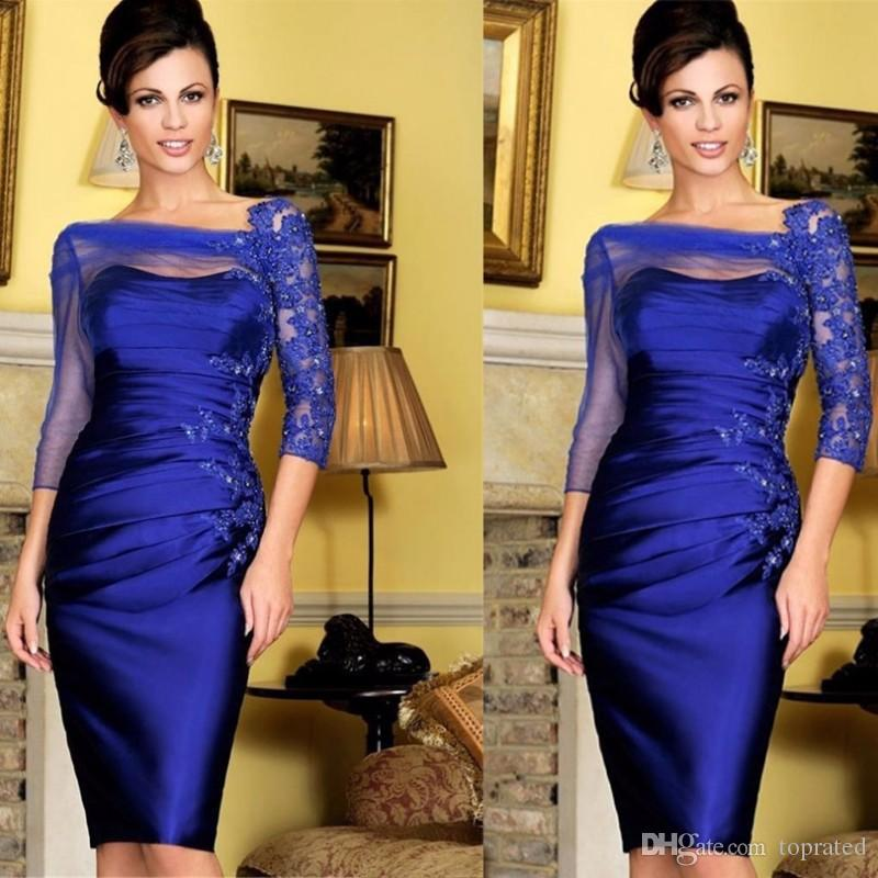Elegant 3/4 Sleeve Tulle Satin Cocktail Dresses 2019 Blue Cheap Knee Length Women Appliques Lace Wedding Mother of the Bride Party Dresses