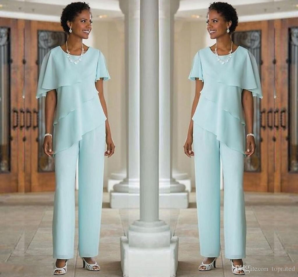 Mother Of The Bride Pants Suits Elegant Two Piece Chiffon And ...