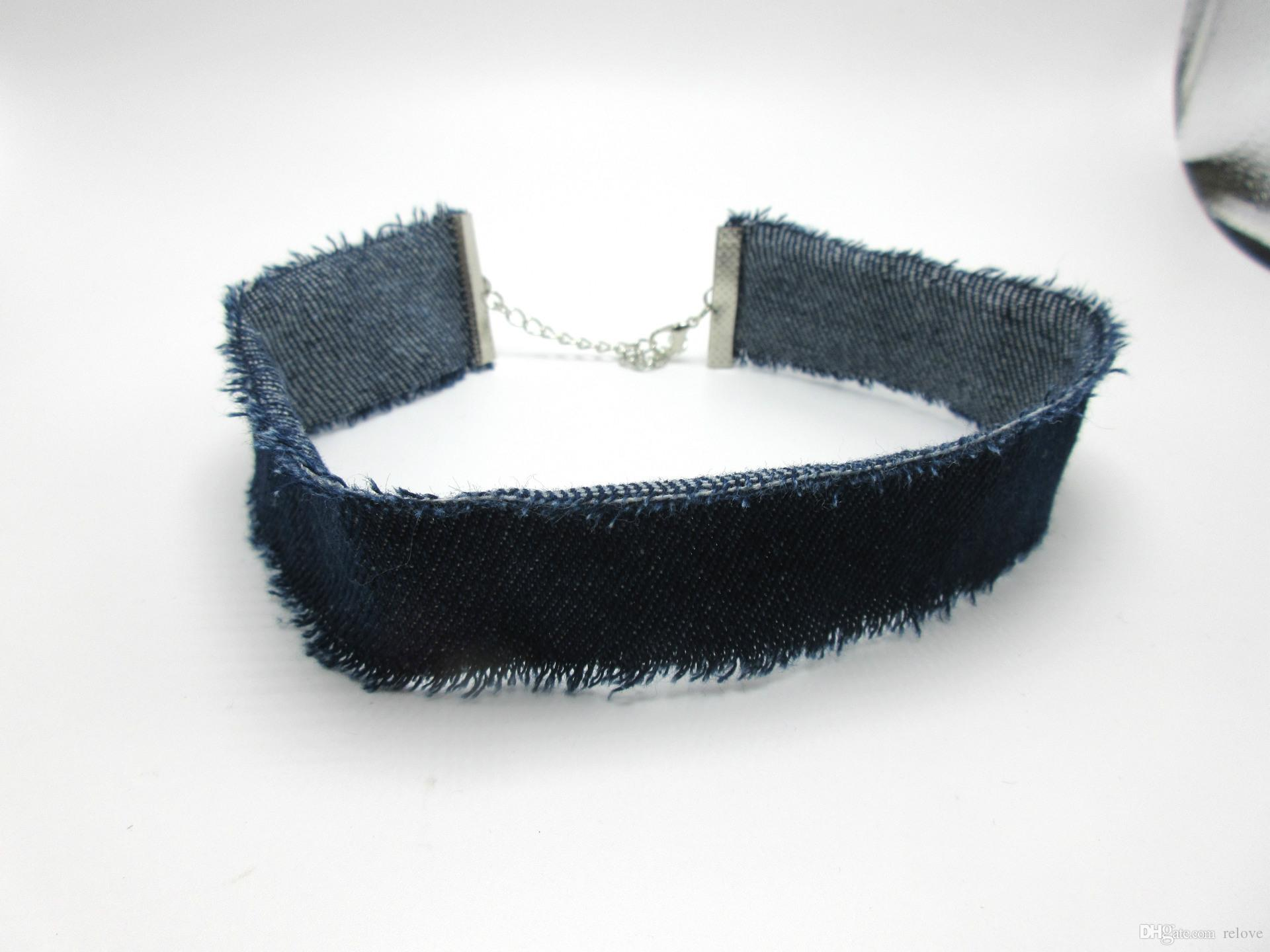 2017 New Retro Wide Denim Burrs Choker Necklace Fashion Collar Necklace Personality Exaggerated Torques