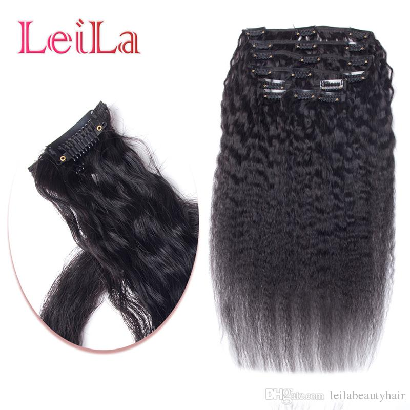 Peruvian Human Hair SET Kinky Straight Clip In Human Hair Extensions Natural Black Coarse Yaki Human Hair Weaves