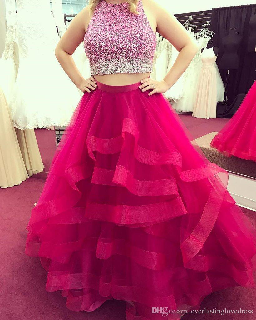 Colorful Beading Top Organza Ruffles Skirt Ball Gowns Prom Dresses Two Piece Evening Gowns Party Dress vestidos fiesta cortos
