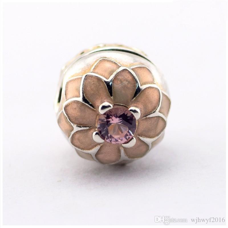 Pink Crystal Blooming Dahlia Clip Charms Bead 925 Sterling-Silver-Jewelry Flower Stopper Lock Beads Fits European Women DIY Brand Bracelets