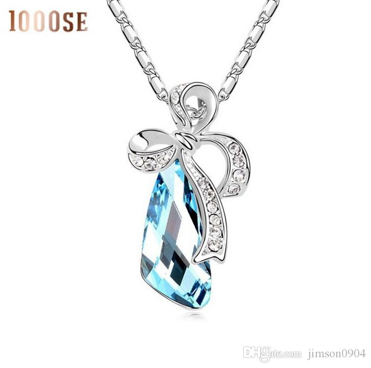 2017 new SWAROVSKI Elements Crystal Necklace bow dance fashion pendant small commodity wholesale with thousands of colors sale