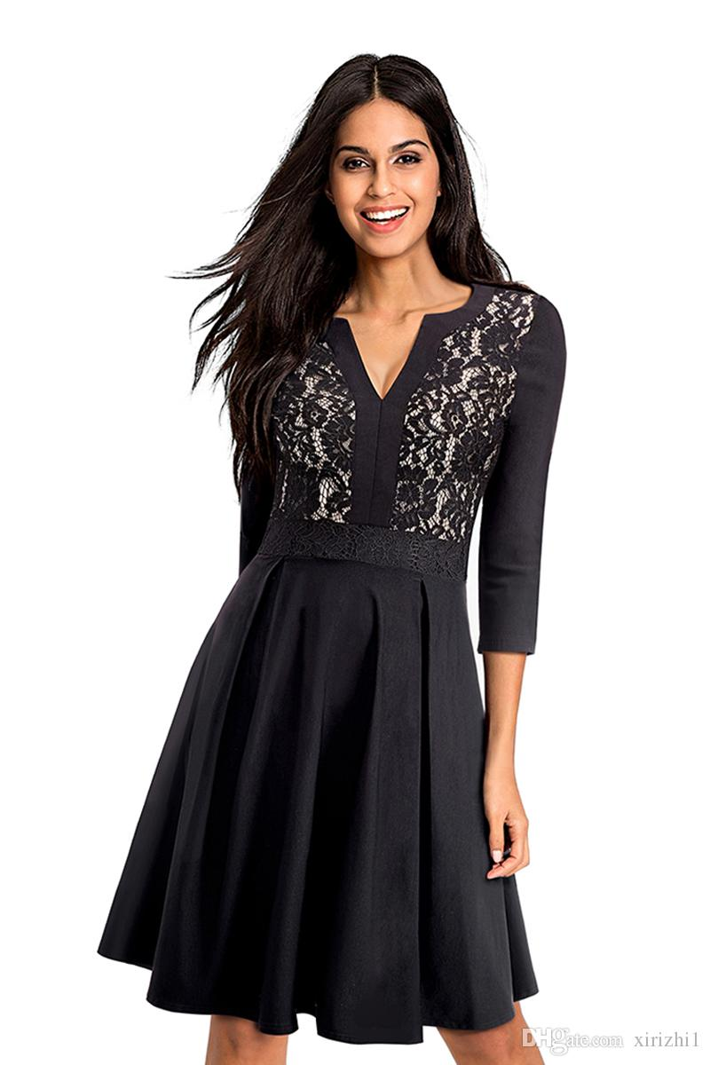 Autumn Women Lace Dress Three Quarter Sleeves Cotton Blend Elegant Black V  Neck Empired A Line Dress With Big Skirt Woman Dress Affordable Prom Dresses  From ... 848b7d9c5a82