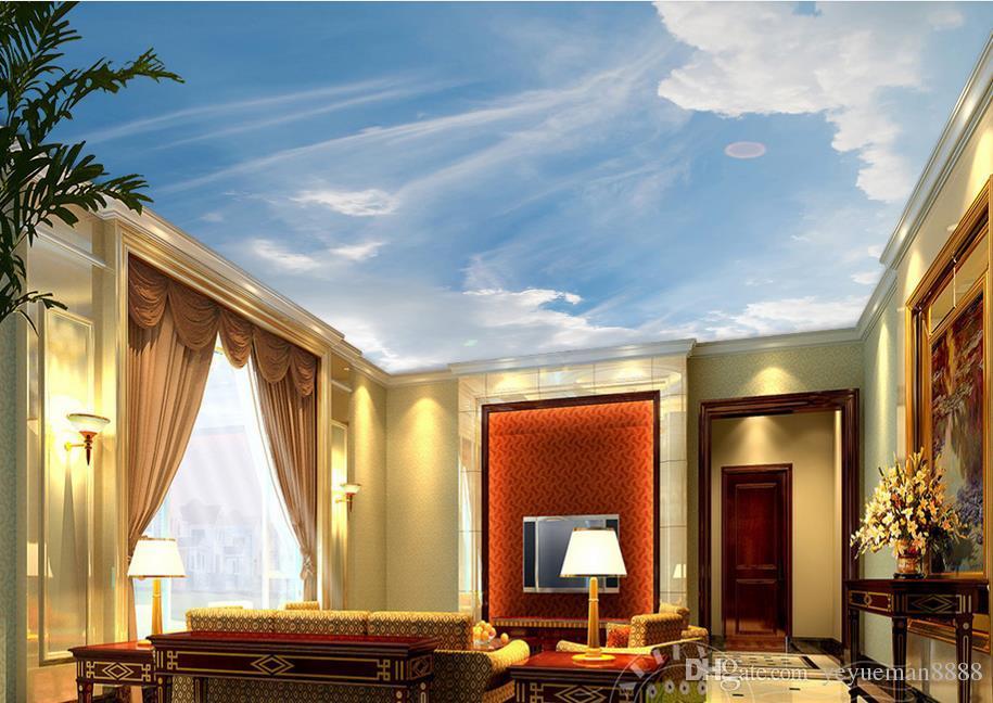 3d ceiling custom 3d Dream sunshine blue sky white sky sky art wallpaper for ceilings 3d wallpaper living room wallpaper ceiling modern