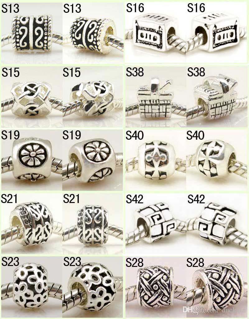 Biżuteria Sterling 925 Srebrne Koraliki Charms Dla Europejskiej Bransoletka 50 Sztuk Mix Hurt