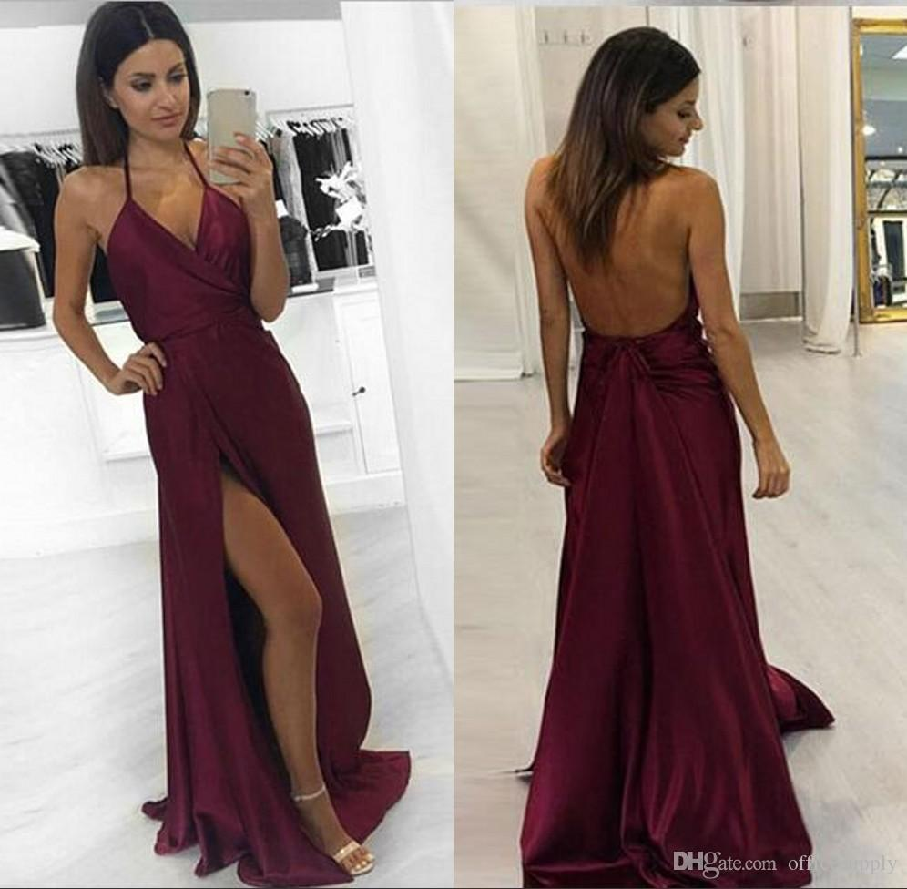 af40c2d3ddc Sexy Burgundy Backless Prom Dresses Mermaid Style 2018 Modest Split Halter  Beaded Sweep Train Formal Evening Pageant Gowns For Girl Prom Dresses  Juniors ...