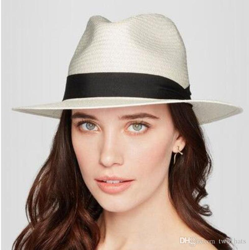 c8275413c1d46 Women s Fedora Straw Hats Casual Sun Shading Hats with Black Band Holidays  Style Stingy Brim Floppy Panama Tophats with Lace Ribbons QF