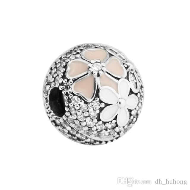 Poetic Blooms Clip Mixed Enamels & Clear CZ 2017 Spring 100% 925 Sterling Silver Bead Fit Pandora Bracelet Fashion Jewelry DIY Charm Brand