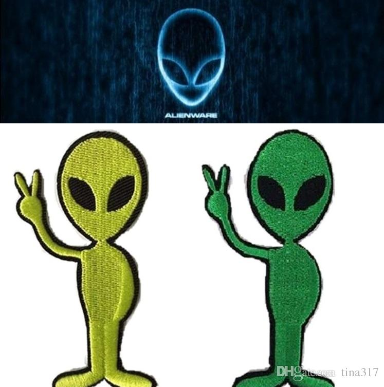 New1.6 inch Peace Alien UFO flying saucer roswel embroidered patch On Patches Made of Cloth Guaranteed DIY sew on patch Sewing Notions BAB10