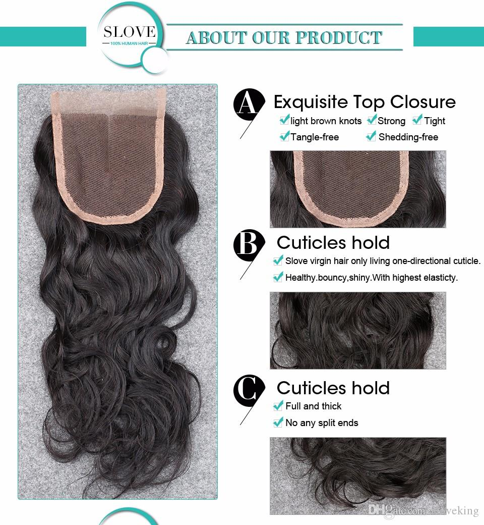 7A Brazilian Water Wave Closure 4X4 Bleached Knots Middle/Free/3 Part Brazilian Lace Closure Wet And Wavy Closure FedEX Free