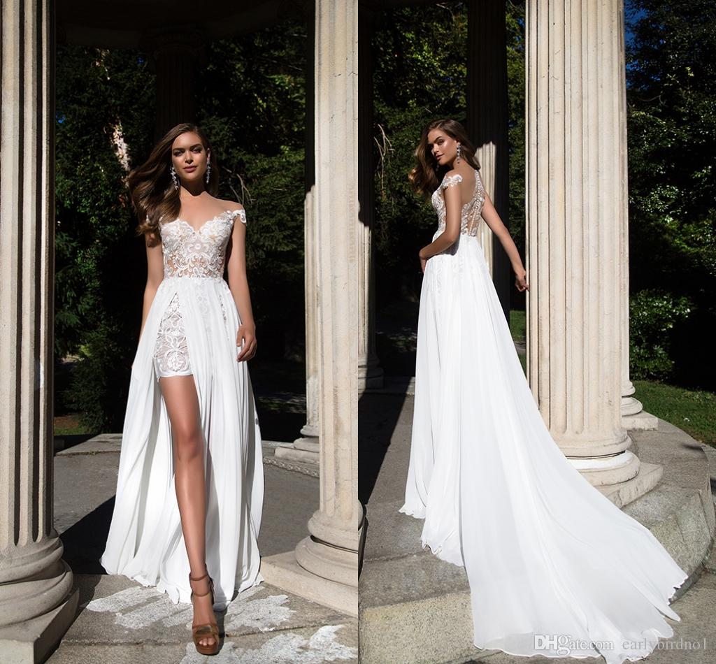 2017 Summer Beach Lace Chiffon Wedding Dresses With Detachable ...