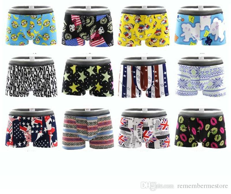 Brands Quality Sexy Men's Boxers Shorts Cartoon Geometric Printing Male Underpants Man's Underwear L/XL/XXL Spandex