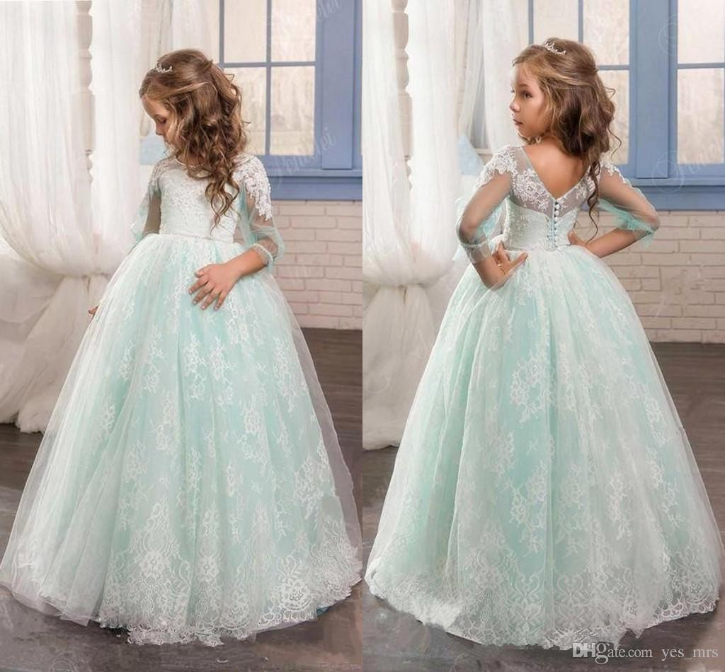 9b49a880958 2017 New Cheap Flower Girls Dresses For Weddings Jewel Neck White Lace Mint  Sage Tulle Party Birthday Children Communion Girl Pageant Gowns Monsoon  Girls ...