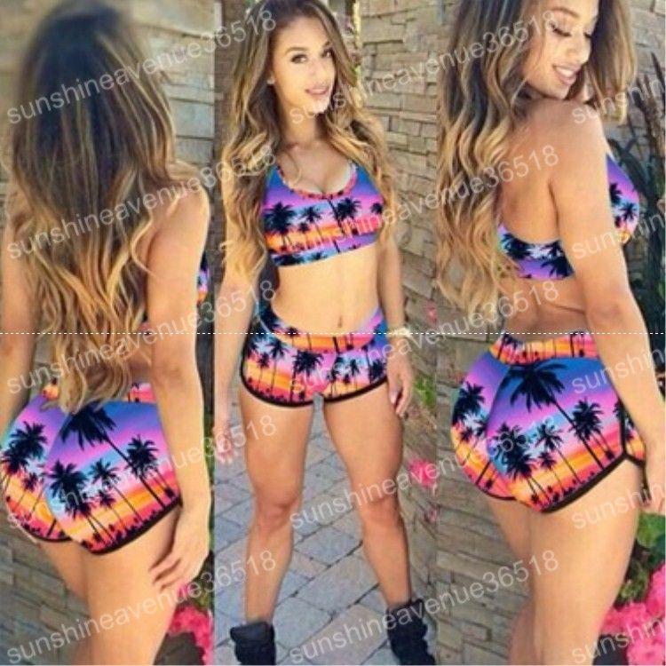 3f0f02cd0b 2019 Fashion Women High Waist Bikini Set Push Up Top Swim Shorts Print Sexy  Swimwear Beach Wear Swim Suit Bathing Suits From Crownbonanza, $7.87 |  DHgate.