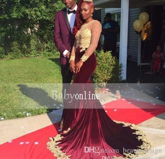 2017 Black Girl Burgundy Long Sleeve Mermaid Prom Dresses Sexy Illusion Bodices Gold Lace Appliqued Velvet Long Evening Gowns bo5235