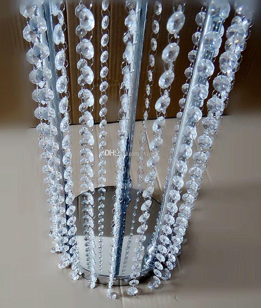 chandelier de mariage / or / argent métal cristal pilier centre de table titulaire de la fleur / / centre de table cristal de mariage pour fête