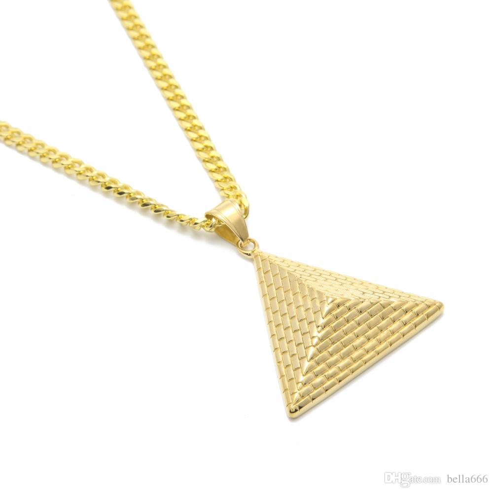 Fashion Jewelry Hip-Hop Stainless Steel Pendant Necklace Golden Triangle Egyptian Pharaoh King Pyramid Pendant Men Women Rapper Necklace