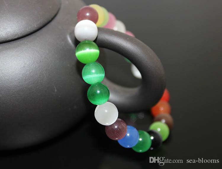 Seil Armbänder Bunte Katzenauge Glasperlen Armband Modeschmuck Für Frauen 8 MM 10 MM Steinperle DIY Charme Schmuck Freies DHL B697S