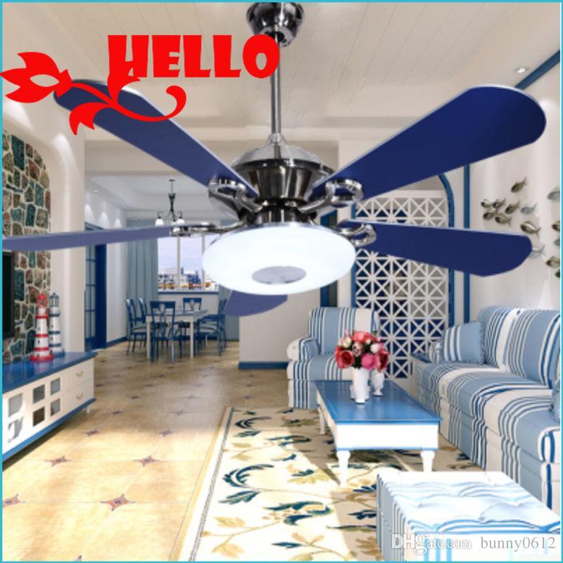 Großhandel 2017 Mediterranen Stil Fan Decke Fan Lampe Schlafzimmer Licht  Europäischen Stil Wohnzimmer Hellblau Fan Lampe Restaurant Von Bunny0612,  ...