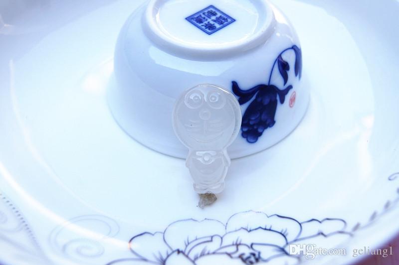 Ręcznie rzeźbione, naturalne nasiona lodu jadey pulp kreskówka bogaty kot Naszyjnik wisiorek