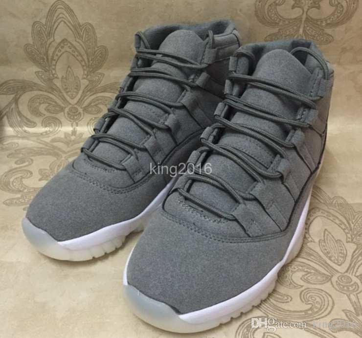 2017 New 11 XI PRM Grey Suede Men Basketball Shoes 11s Cool Grey Athletics Trainers Cheap Sneakers For Sale Size 8-13