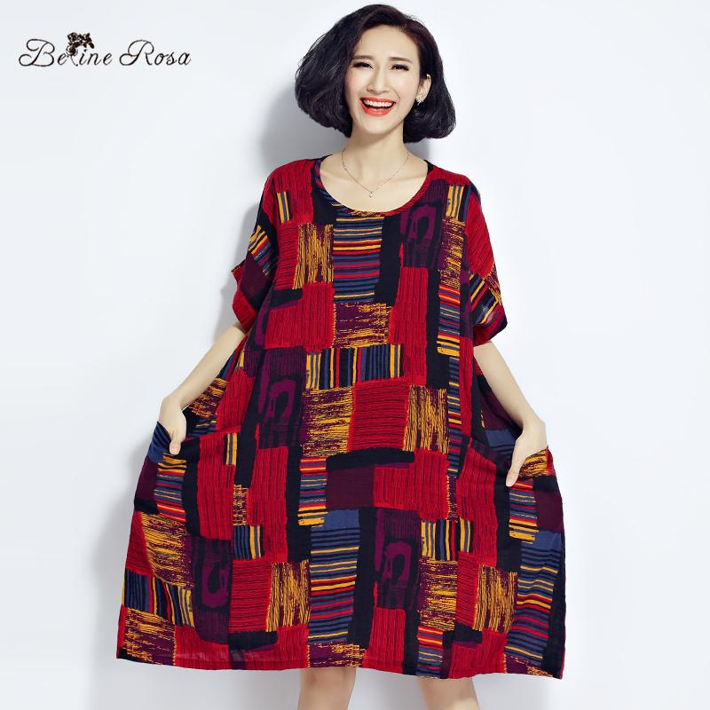 369cdac638 2019 Wholesale BelineRosa 2017 Plus Size Dresses Summer Cotton And Linen  Plaid Dress Clothes For Pregnant Women Fit 50~90KG TYW0209 From Pamele, ...