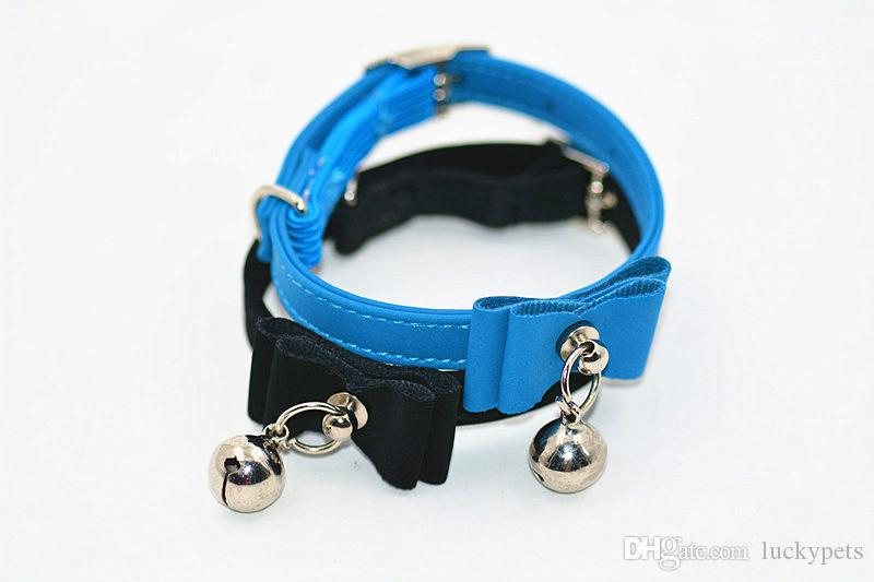 Colorful Bowknot Leather Pet Collar With Small Bell Fits To Pets Dog Puppy Cat Reflective Collar Safety Buckle Pets Supplies 16122301