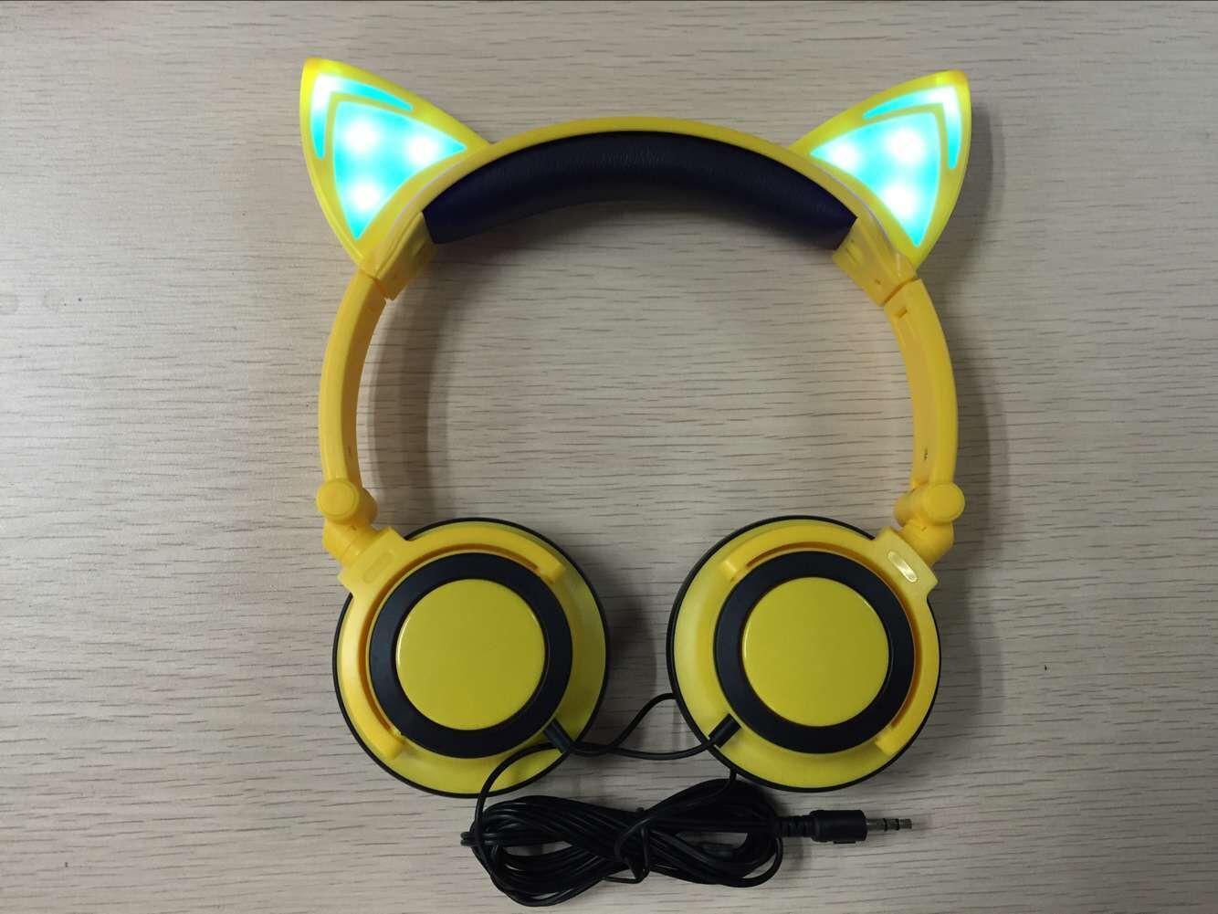 Katze Ohren Kopfhörer Mit LED Leuchtende Lichter über den Ohren Gaming Kopfhörer 7 Farbe Kinder Kopfhörer Für Handy Pad PC DHL Frei