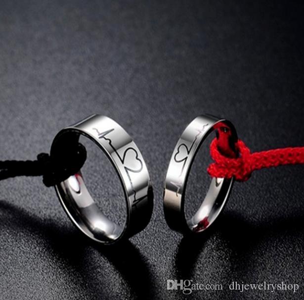 Титана стали сердцебиение ЭКГ пара обещание обручальное кольцо обручальное кольцо ювелирные изделия