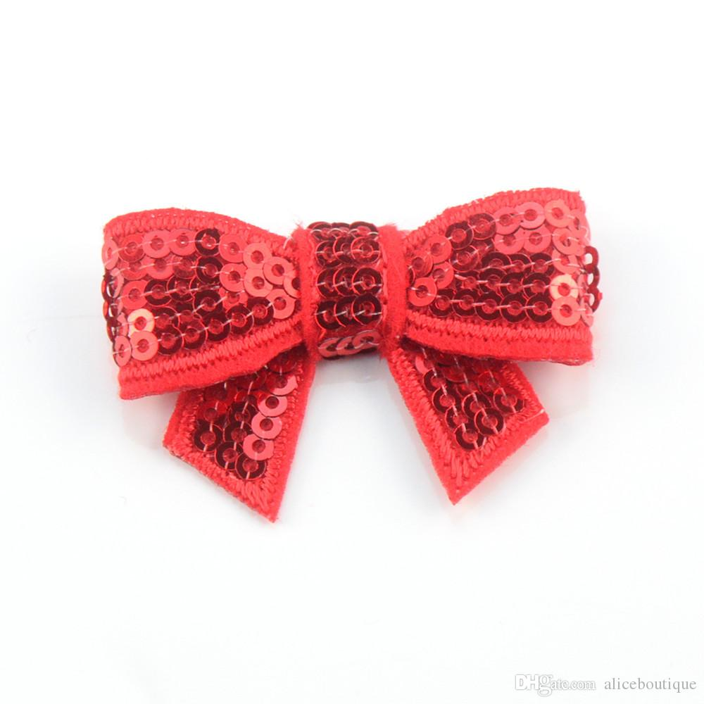 4.5cm mini hair Sequin Bows Newborn Baby Hair Bows Hair Accessories Glitter Bow Tie Sequin Embroidery Bows H0242